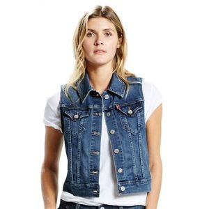 New LEVIS Women's DENIM VEST XL